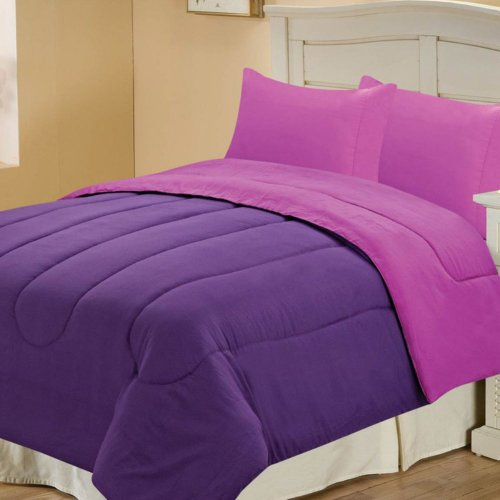 Chic Home Chic Home Microfiber Reversible Comforter, Purple/Plum, Polyester, Queen front-995226