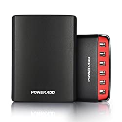 PoweraddTM 50W 6-Port Family-Sized USB Desktop Charger for iPhones, iPads, iPods, Samsung Tab 2 3 4, Galaxy Series Phones, Smartphones, Tablets and More