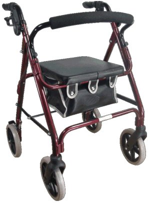 4 Wheeled Rollator-Leather Bag-Brakes