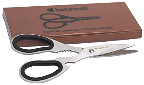 BAKEWELL Ultra Sharp Compact Premium Quality Kitchen Shears- Best Performing Scissors for Cutting Chicken, Poultry, Fish, Herbs, Meat and Small