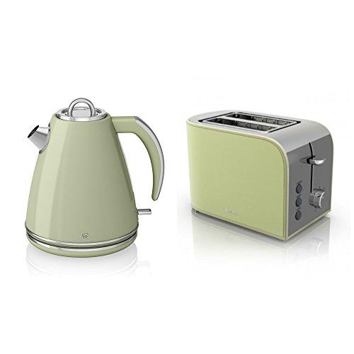 Swan kitchen appliance retro set green 1 5litre jug for Kitchen set kettle toaster