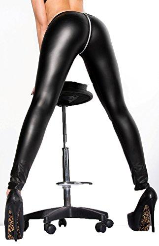 Sexy Kesha Leggings im Wetlook mit Reißverschluss im Po Bereich Markenware direkt aus Deutschland