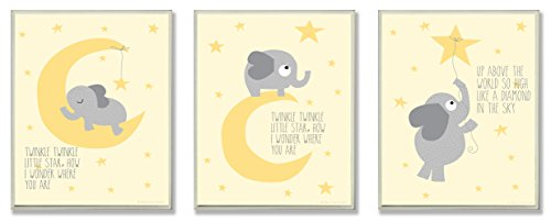 The Kids Room by Stupell Twinkle Twinkle Little Star Grey Elephant on Yellow 3-Pc. Rectangle Wall Plaque Set