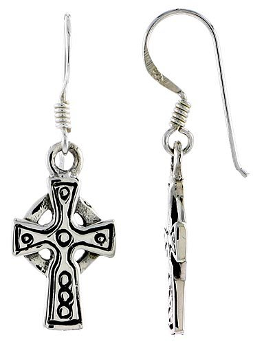 Sterling Silver High Cross Celtic Dangle Earrings Teeny Circles Design, 1 5/16 inch (33 mm) tall