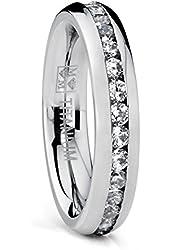 4MM High Polish Ladies Eternity Titanium Ring Wedding Band with CZ Sizes 4 to 9
