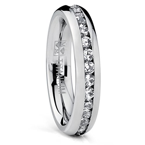 4MM High Polish Ladies Eternity Titanium Ring Wedding Band with CZ Size 7