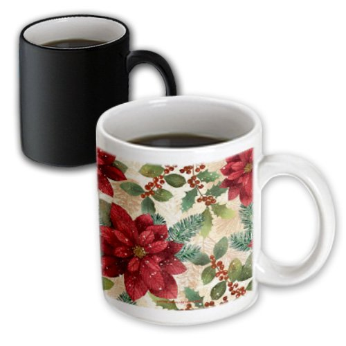 Mug_4950_3 Lee Hiller Designs Holidays Christmas - Retro 50S Red Poinsettias - Mugs - 11Oz Magic Transforming Mug