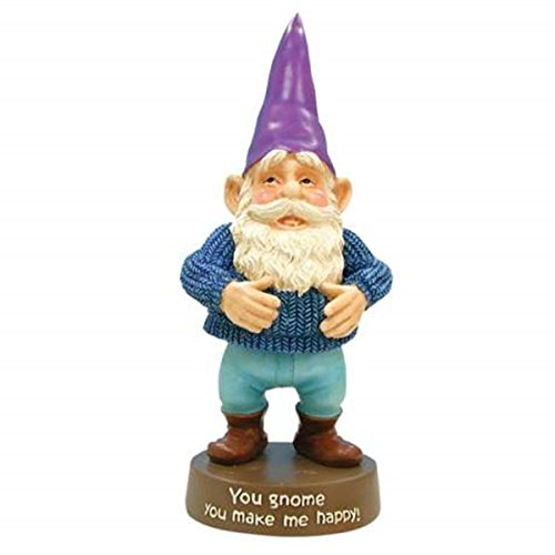 [WL SS-WL-17642 Happy Gnome Wearing Blue Sweater and Purple Hat Figurine, 5.75