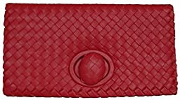 Lush Leather Woven Foldover Red Clutch