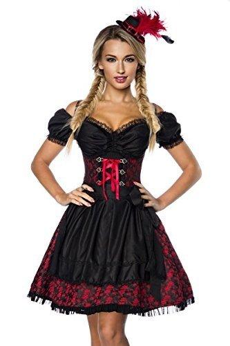 Dirndl Camicetta abiti tradizionale-Costume da Oktoberfest, Grembiule Monaco rosso/nero XL