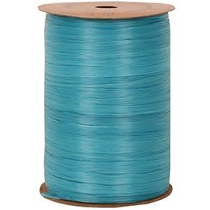 JAM Paper & Envelope Royal Blue 100 Yard Spools of Wraphia (Wraffia) Ribbon - Sold individually