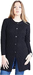 Montrex Women's Plain Coats (Montrex-6407Black, Black, XL)