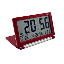 KLAREN Multifunction Silent LCD Digital Large Screen Travel Desk Electronic Alarm Clock, Date/Time/Calendar/Temperature Display, Snooze, Folding Red
