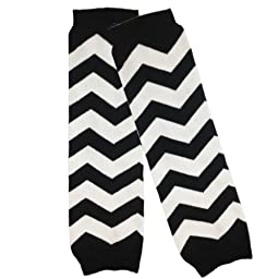 Wrapables Colorful Baby Leg Warmers, Chevron Black and White