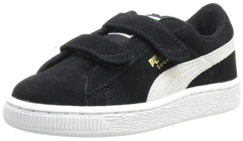 PUMA Suede 2-Strap Sneaker (Toddler/Little Kid/Big Kid),Black/White,8 M US Toddler