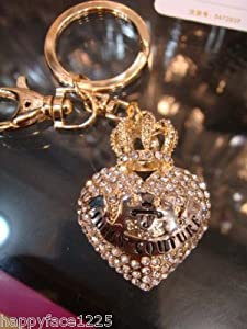 Crown Heart Keychain Purse Charm Austrian Crystals