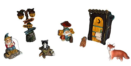 Giftcraft 7 Pc Fairy Garden Accessories Kit - Outhouse & Woodlands Set