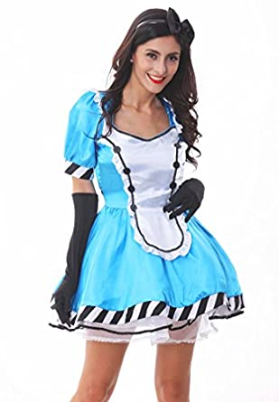Voglee Women's Sexy Charming Alice in Wonderland Dress Outfit Adult Halloween Costume