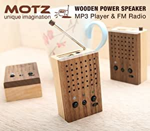 Motz Tiny Wooden Power Speaker (Built-in FM Radio & Support for USB Flash Drive/SD Memory Card)