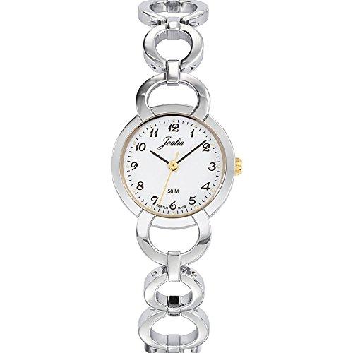 Joalia-634595-Orologio da donna con cinturino in metallo con quadrante bianco, colore anello: Bicolore