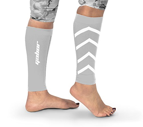 Gabor Fitness Graduated 20-25mm Hg Compression Running Leg Sleeves, Medium, White