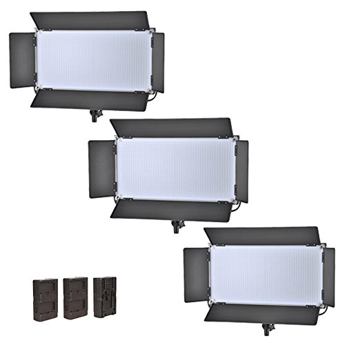 Iled 1260 Led Bi-Color Studio Panel 3-Light Kit With V-Mount Plate And Barndoors + Battery Converter Adapter