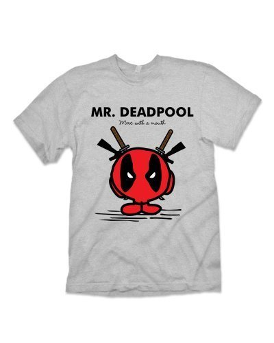 Mr Deadpool 'Geek' T-shirt Inspired by Marvel Comics - Sport Grey (L)