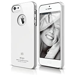 elago S5 Slim Fit Case for iPhone 5 + Logo Protection Film included - eco friendly Retail Packaging - White
