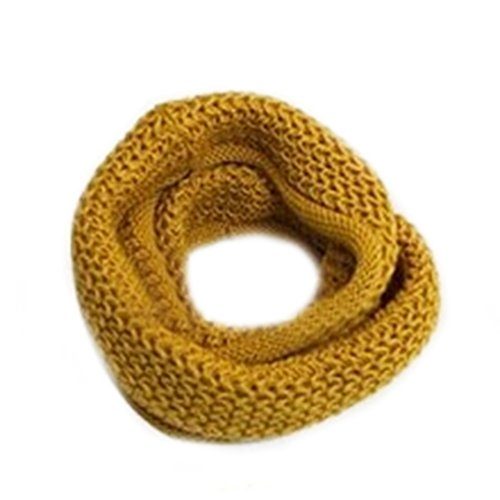 Deer Mum Newest Warm Kint Crochet Infinity Scarf Shawl Cowl Neck Circle Scarf-Yellow front-264210