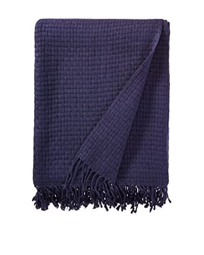 a & R Cashmere Wool & Cashmere Basketweave Throw, Navy