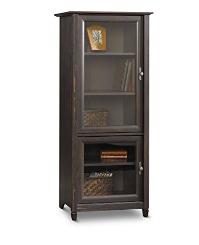 Brown Entertainment Storage Cabinet Tower Vintage Antique Finish Shelves for Books Stereo or Tv Components Glass Doors Matching Tv Stand Completes the Media Center (Media Cabinets compare prices)