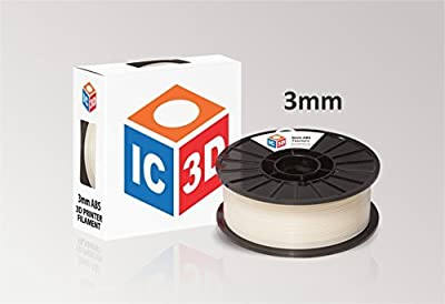 IC3D High Quality Natural 3mm ABS 3D Printer Filament - Dimensional Accuracy +/- 0.05mm - Professional Grade 3D Printing Filament - MADE IN USA