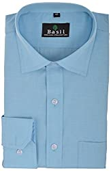 Basil Men's Formal Shirt (BA310PFF01FSF, Sky Blue, 40)