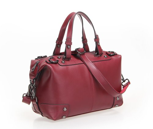 Fineplus Women's New Fashion Vintage Boston Leather Designer Handbags Tote Bags Purses Wine-red