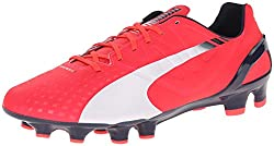 PUMA Mens Evospeed 2.3 Firm Ground Soccer Shoe Bright Plasma / White / Peacoat 8.5 D(M) US
