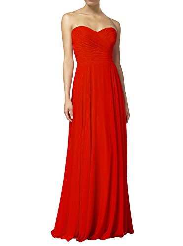 Huafeiwude Women's Sweetheart Chiffon Long Evening Dress Bridesmaid Prom Dress Red US 6