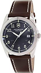 Victorinox Swiss Army Black Dial SS Brown Leather Quartz Men's Watch 241563