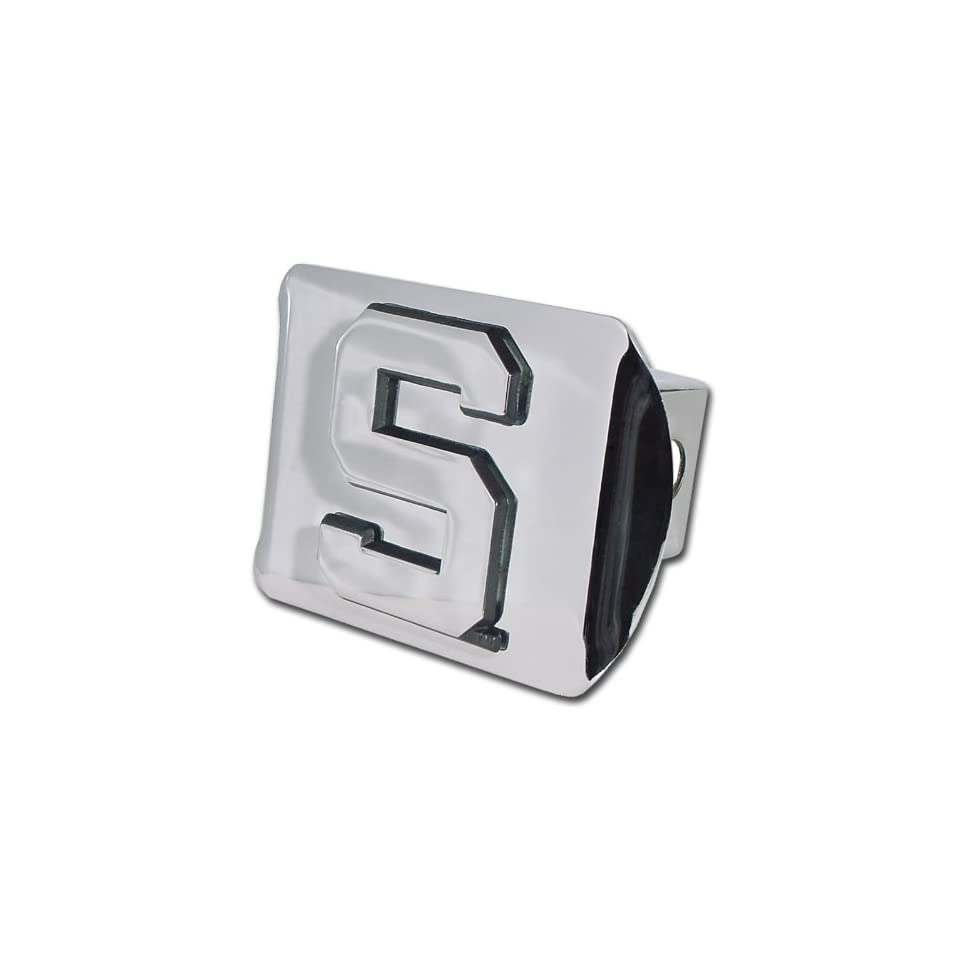Michigan State University Spartans Bright Polished Chrome with Block S Emblem NCAA College Sports Metal Trailer Hitch Cover Fits 2 Inch Auto Car Truck Receiver