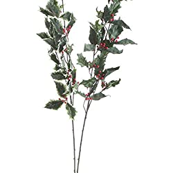 Factory Direct Craft® Group of 6 Artificial Holly Leaf and Red Berry Sprays for Holiday and Home Decor