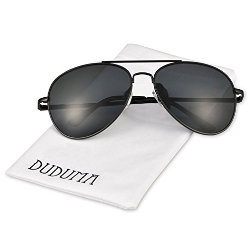 Duduma Premium Classic Aviator Sunglasses with Metal Frame Uv400 Protection(Black frame/smoke lens)