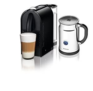Nespresso U D50 Espresso Maker with Aeroccino Milk Frother, Pure Black