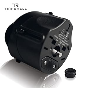 Tripshell International TR-Adap-BK Travel Plug Adapter With Surge Protection