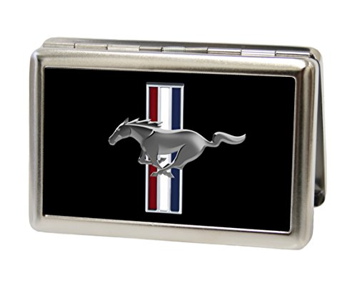 Ford Automotive - Mustang w/ Bars Logo on Black - Metal Multi-Use Wallet Business Card Holder