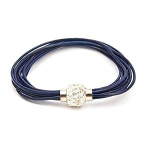 Bracelet cuir bleu et boule strass blanc