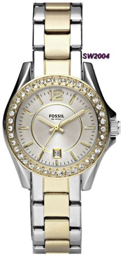 Fossil Women's ES2880 Riley Mini Stainless Steel Two-Tone Watch