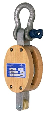 "Campbell 3001K 4"" Single Regular Wood Shell Block with K Screw Pin Anchor Shackle, 1000 lbs Load Capacity, 1/2"" Rope, 2-1/4"" Sheave"