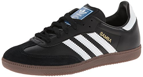 Adidas Originals Men's Samba Soccer-Inspired Sneaker,Black/White/Gum,7.5 M US