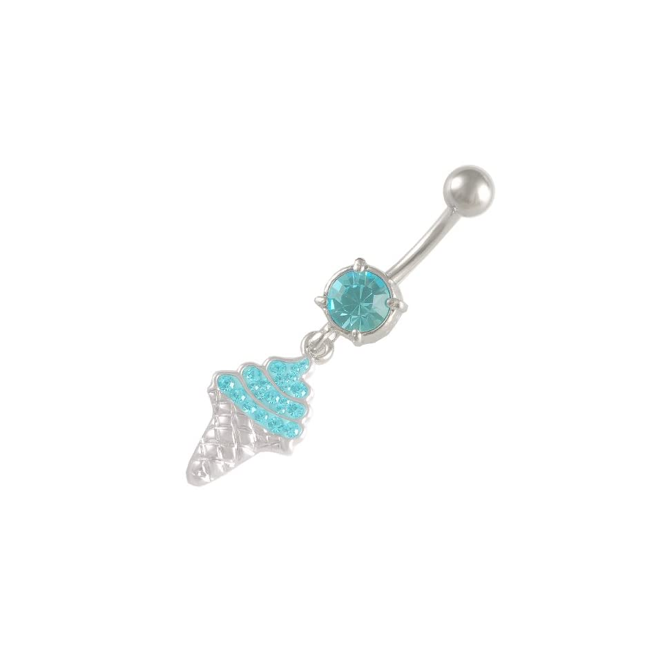14 Gauge 1.6mm 3/8 10mm cute dangle belly ring navel bar surgical steel unique button AWHA Body Piercing