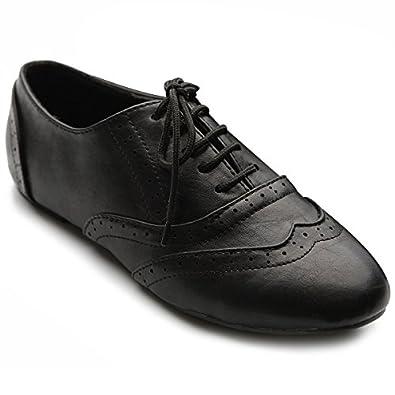 Ollio Women's Shoe Classic Lace Up Dress Low Flat Heel Oxford(5.5 B(M) US, Black)