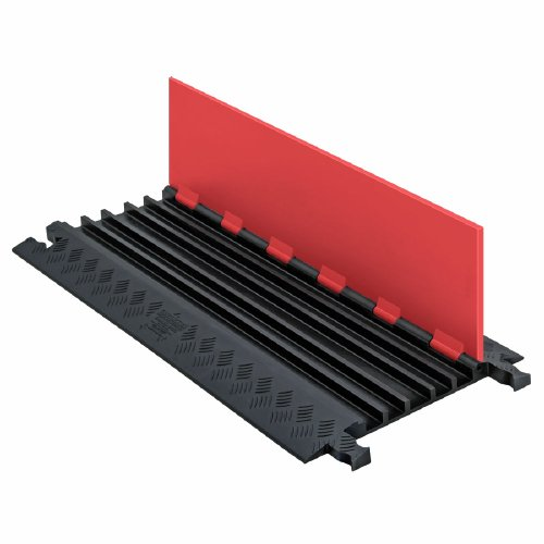 "Guard Dog GD5X75-ST-O/B Polyurethane Heavy Duty 5 Channel Low Profile Cable Protector with  Standard Ramp, Orange Lid with Black Ramp, 36"" Length, 16.9"" Width, 1.25"" Height"